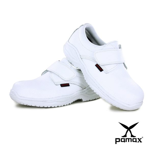 PAMAX 帕瑪斯-★黏貼式白色皮革製高抓地力安全鞋 ★台灣製.寬楦鋼頭.※ PAA113H09-男女