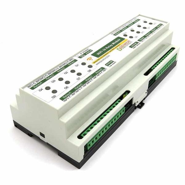 Denkovi WiFi 16 Relay Module, TCP/IP, UDP, Virtual Serial Port - DIN Rail Box, 12VDC [2美國直購]