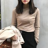 降價兩天-長袖T恤秋冬新品素面半高領加絨長袖T恤女學生修身百搭打底衫上衣潮