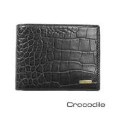 Crocodile Croco 義大利植物鞣製皮 鱷魚壓紋薄型短夾 0103-5004