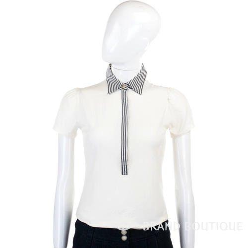 Clips 白色條紋造型設計短袖上衣 0720275-03