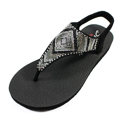 (A3)SKECHERS(女) 水鑽涼鞋 夾腳涼鞋 Meditation-Gypsy - 31769BLK 黑[陽光樂活]