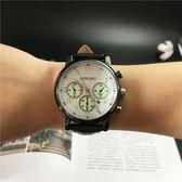 正韓創意夜光男士皮帶手錶時尚潮流復古學生女表日歷運動石英表