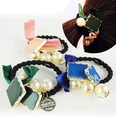 韓國 高彈力氣質流蘇髮飾/緞帶蝴蝶結方塊珍珠髮圈 乙入隨機出貨不挑款/色◆86小舖◆