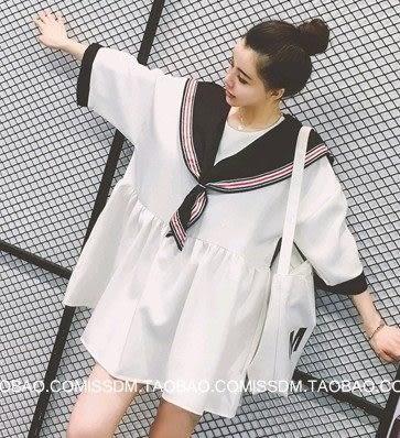 EASON SHOP(GU0687)海軍風娃娃短袖襯衫連身裙夏裝新款韓版寬鬆顯瘦學院風娃娃裙假兩件白色洋裝