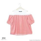 【INI】浪漫微性、小露香肩輕盈上衣.粉色