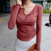 顯瘦低胸透視t恤女秋裝長袖緊身透明上衣夜店性感衣服v打底木耳邊