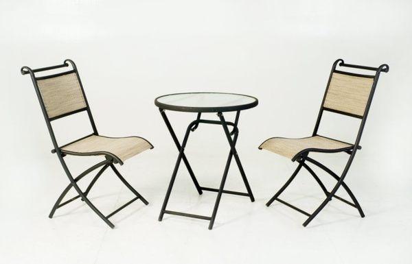 【南洋風休閒傢俱】戶外休閒桌椅系列 - 鐵製折合玻璃圓桌組 戶外桌椅組 (S47132 S10854)