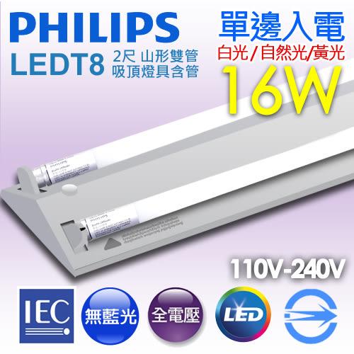 【有燈氏】PHILIPS 飛利浦 LED 山形 山型 2尺 T8 16W 雙管 吸頂燈具 含管【TMS030-2x2】