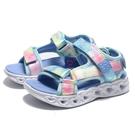 SKECHERS 童鞋 涼鞋 HEART LIGHTS 藍 渲染 魔鬼氈 發光 燈鞋 中童 (布魯克林) 302160LBLMTK