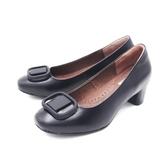 【南紡購物中心】W&M (女)方頭大釦粗跟包鞋 高跟鞋 女鞋 -黑