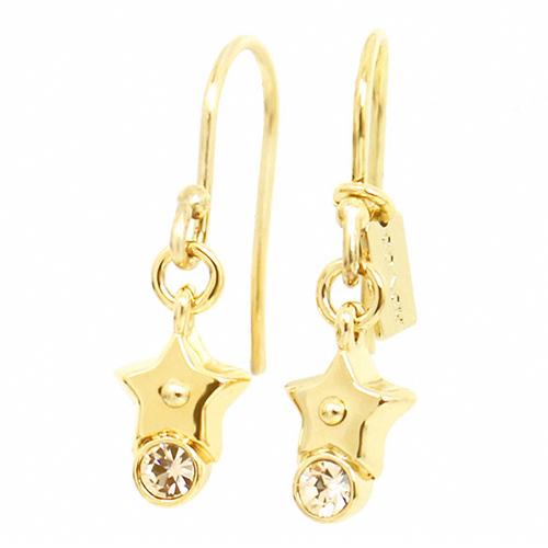 COACH星星水鑽金色勾式耳環