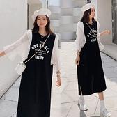 韓系洋裝#寬松大碼雪紡拼接長洋裝 簡約字母高含棉短袖連身裙休閒隨性裙子9522DC107韓衣裳