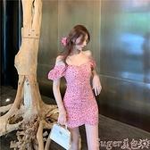 一字肩洋裝 春夏季新款短袖高級感顯瘦氣質碎花女法式復古一字肩性感連身裙子  新品