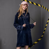 DADA SUPREME 絲絨長版連帽上衣-深藍-女