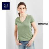 Gap女裝 基本款純色V領純棉短袖T恤女裝 283152-墨綠色條紋