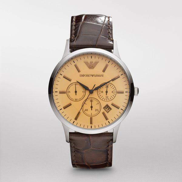 EMPORIO ARMANI (RENATO)經典復古 X 三眼計時腕錶 AR2433