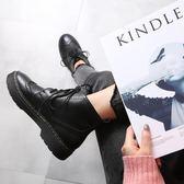2019新款秋冬英倫風秋新款雕花布洛克短靴子復古系帶機車馬丁靴女