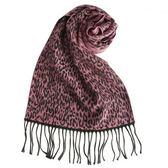 GINZA U新款時尚豹紋風織紋100%羊毛圍巾(桃粉色) 359999-54