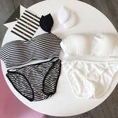 平口內衣 成套 內褲 加厚罩杯 鋼圈集中 性感爆乳 肩帶可拆 多穿式 小可愛 防走光 黑白條紋 NXS