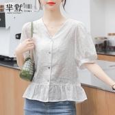 韓國大碼雪紡襯衫短袖上衣女裝2020年夏裝新款洋氣燈籠袖襯衣蕾絲花邊上衣【居享優品】