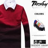『潮段班』【ML011811】 雙色漸層圓領長袖毛衣針織衫外搭衛衣T恤