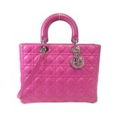 Dior 迪奧 桃粉紅色羊皮手提肩背2way包 黛妃包 Lady Dior 16-BO-1102【BRAND OFF】