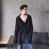 長袖襯衫-純色前片不對稱時尚韓版男上衣2色73po6【巴黎精品】