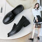 現貨-英倫風黑色小皮鞋女增高2019夏季新款學生百搭一腳蹬女鞋中跟單鞋 萊俐亞 8-13