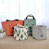 飯盒袋手提袋便當袋小帶飯包保溫袋圓形大號手提飯盒包便當包防水 生日禮物