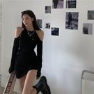 長袖洋裝 收腰心機露肩秋季緊身連身裙 性感辣妹包臀裙針織裙子  降價兩天