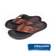 【PEGADA】巴西名品時尚真皮夾腳涼拖鞋  深咖啡(131267-DBR)