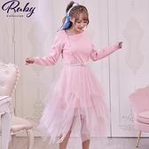 洋裝 珍珠腰帶網紗拼接針織長袖洋裝-Ruby s 露比午茶