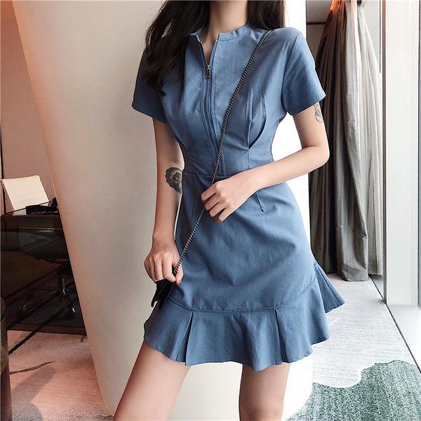 VK精品服飾 韓國風復古氣質時尚顯瘦荷葉邊短袖洋裝