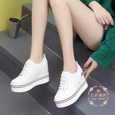 超高跟坡跟單鞋休閒鞋 百搭厚底小白鞋女內增高鞋