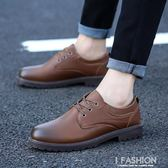 夏款新款小皮鞋子男士工裝鞋休閒鞋韓版潮流男板鞋青年百搭潮鞋-Ifashion