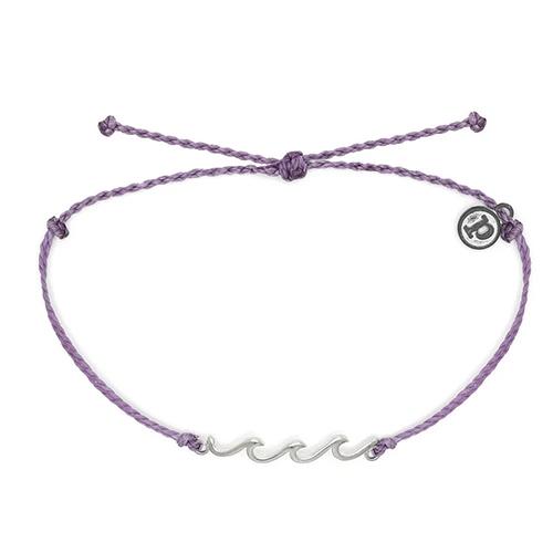 Pura Vida 美國手工 精緻銀色WAVE 紫色臘線可調式衝浪海灘防水手鍊手繩