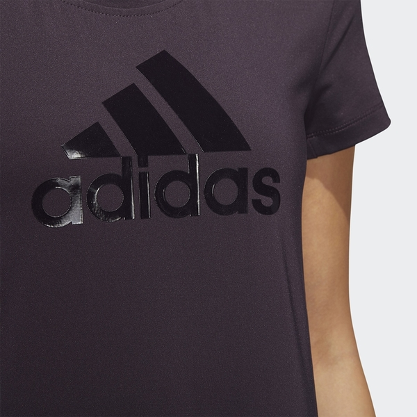 ADIDAS BADGE OF SPORT LOGO 女裝 短袖 慢跑 訓練 排汗 透氣 背後網布 拼接 紫 【運動世界】GC7666