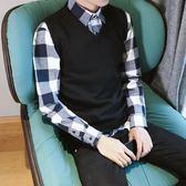 秋冬季新款韓版男裝修身馬甲純色坎肩針織衫毛衣無袖 背心男 純棉 免運