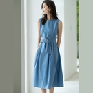 法式氣質繫帶收腰背心洋裝連身裙韓版【80-16-8Z3202-21】ibella 艾貝拉
