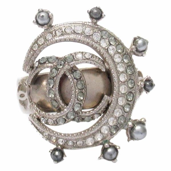 CHANEL 香奈兒 月亮珠珠鑲水鑽純銀戒指戒指CC Crescent Moon 15C 10.5號【BRAND OFF】