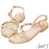 Ann'S顯瘦Z字漸層寶石金色系平底涼鞋-金