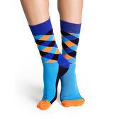 『摩達客』瑞典進口【Happy Socks】藍橘菱格中統襪(60112081028)