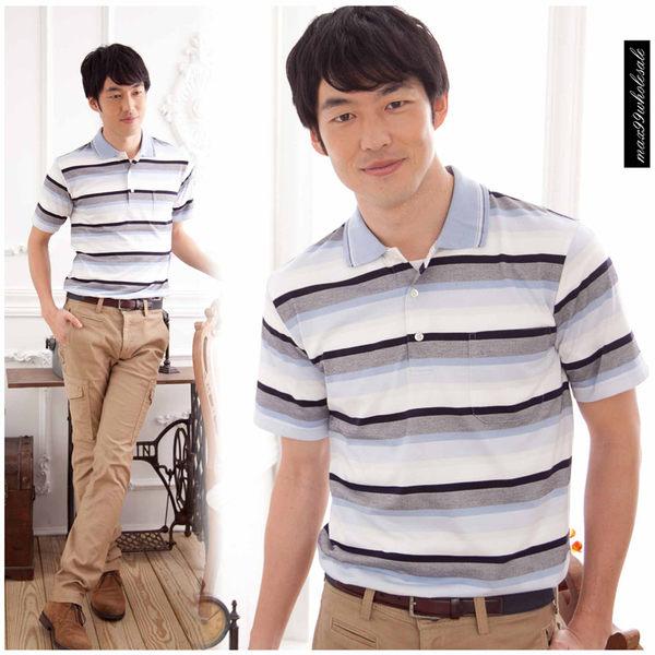 【大盤大】(P90671) 男 短袖 橫條紋POLO衫 高爾夫 口袋棉衫 有領 運動衫 全新 禮物【僅剩M號】