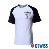 【超取】K-SWISS Raglan Tee印花短袖T恤-男-白/藍