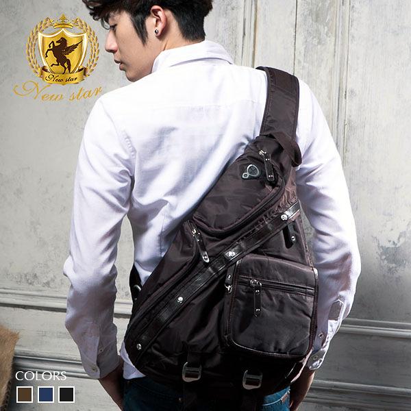 單肩背包 質感配皮質側背包包 後背包 胸包 男 女 男包 現貨 水滴包 NEW STAR BK27