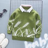 毛衣 男童毛衣假兩件新款秋裝兒童加絨加厚針織衫寶寶上衣中小童潮