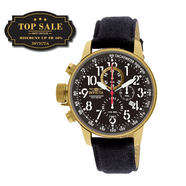 【INVICTA】小勞勃道尼系列 - 黑金帆布皮錶帶