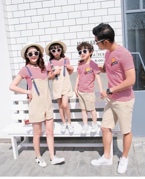 親子裝加大尺碼新款潮母女裝夏裝季一家三四口背帶褲洋氣母子短袖套裝