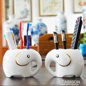 陶瓷牙刷架牙刷置物架可愛創意情侶三口四口之家牙具座衛生間洗漱·Ifashion